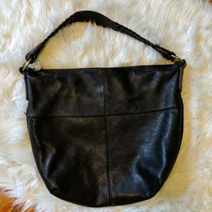 Lucky Brand black leather braided hobo bag